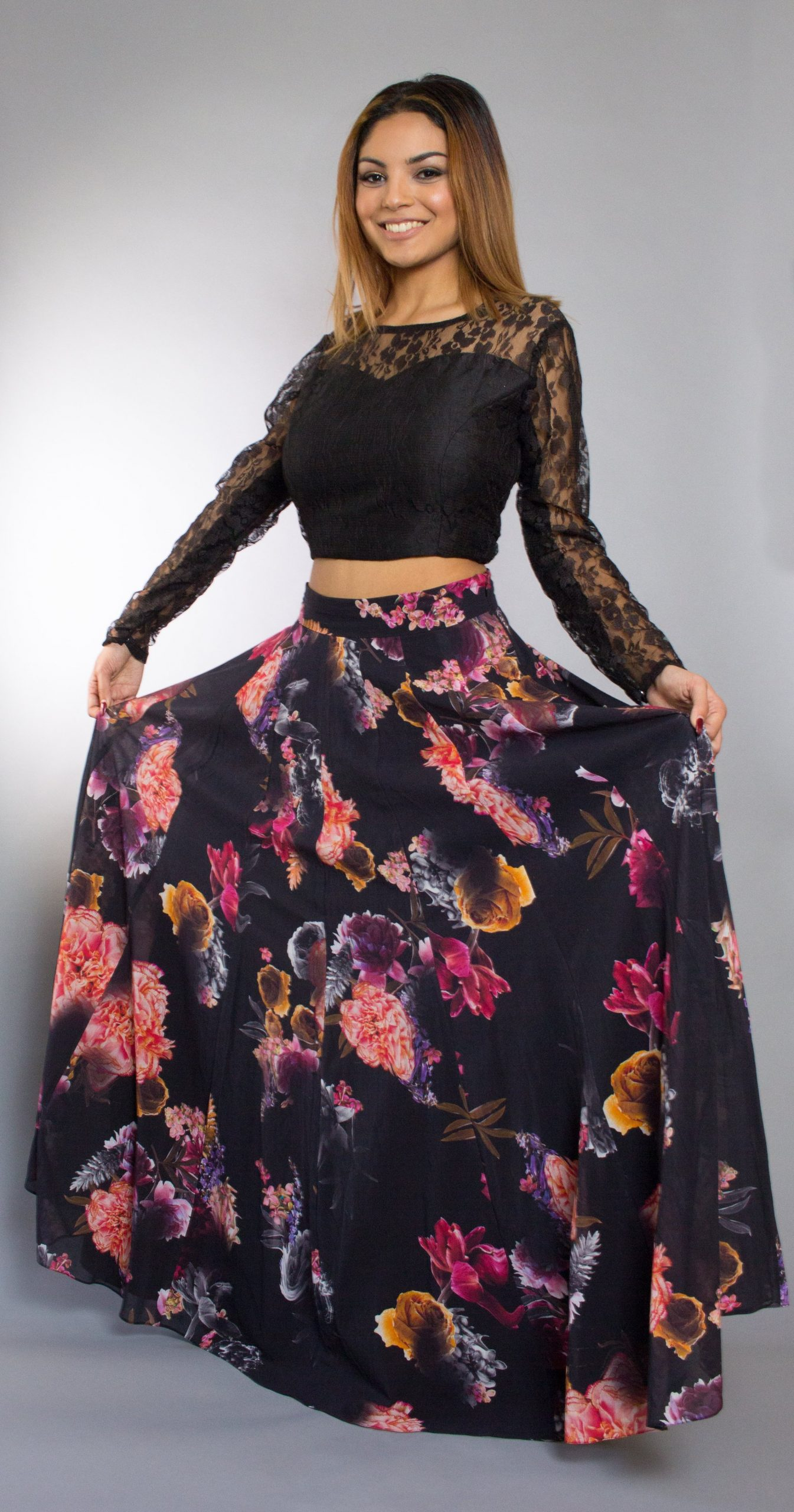 Black Crop Top And Floral Skirt