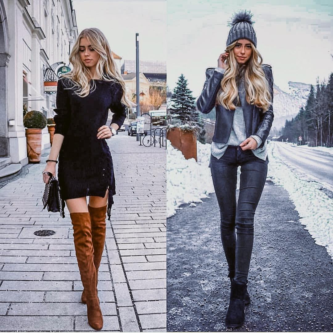 Black Dress Or Edgy Leather Jacket And   Skinny Coated Pants Outfit