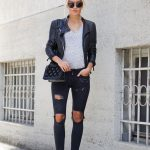 Black Leather Jacket And Knee Ripped   Skinnies Outfit