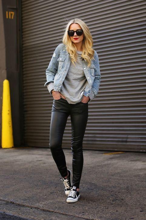 Black Leather Pants With Denim Jacket