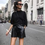 Black Leather Shorts With Sweater Outfit