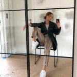 Black Leather Trench Coat, Snakeskin   Print Pants And White Ugly Sneakers Outfit