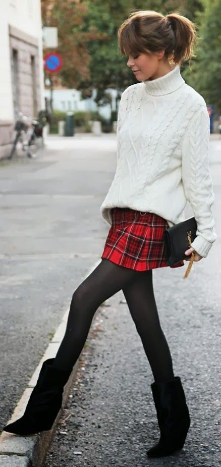 Black Sweater And Plaid Mini Skirt Outfit
