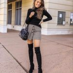 Black Turtleneck And Front-Buttoned Skirt   With OTK Boots