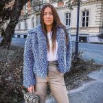 Blue Faux Fur Jacket With White Top And   Grey Pants Outfit