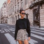 Bulky Sweater In Black And Wrap Mini   Skirt Outfit