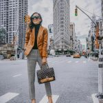Camel Blazer And Grey Plaid Pants Outfit