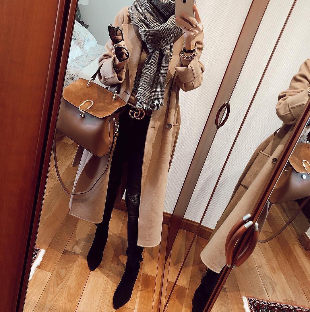 Camel Coat, Plaid Scarf And OTK Boots   Outfit