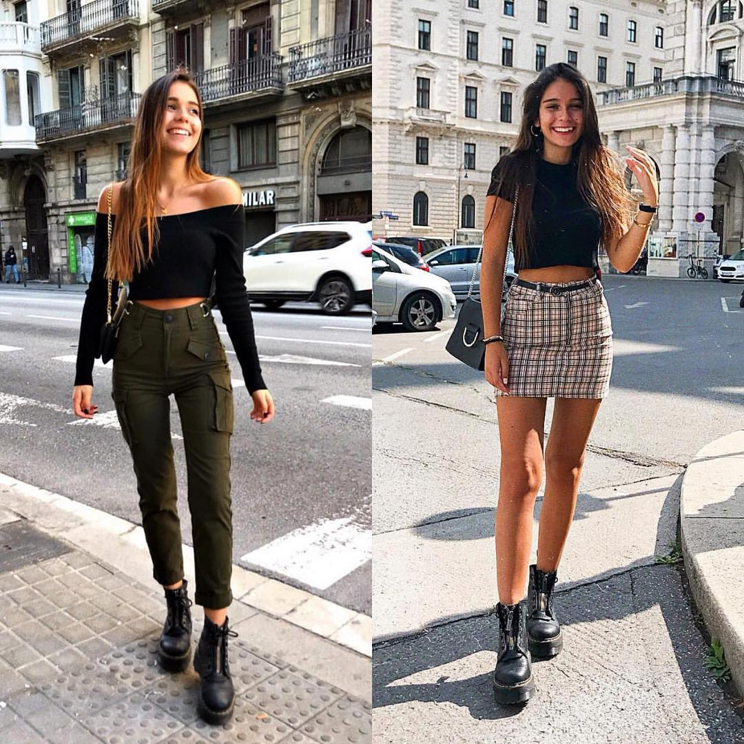 Cargo Pants Or Plaid Skirt For Street   Walks