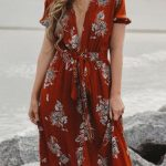 Choker Maxi Dress In Red Orange And White   Sneakers Outfit
