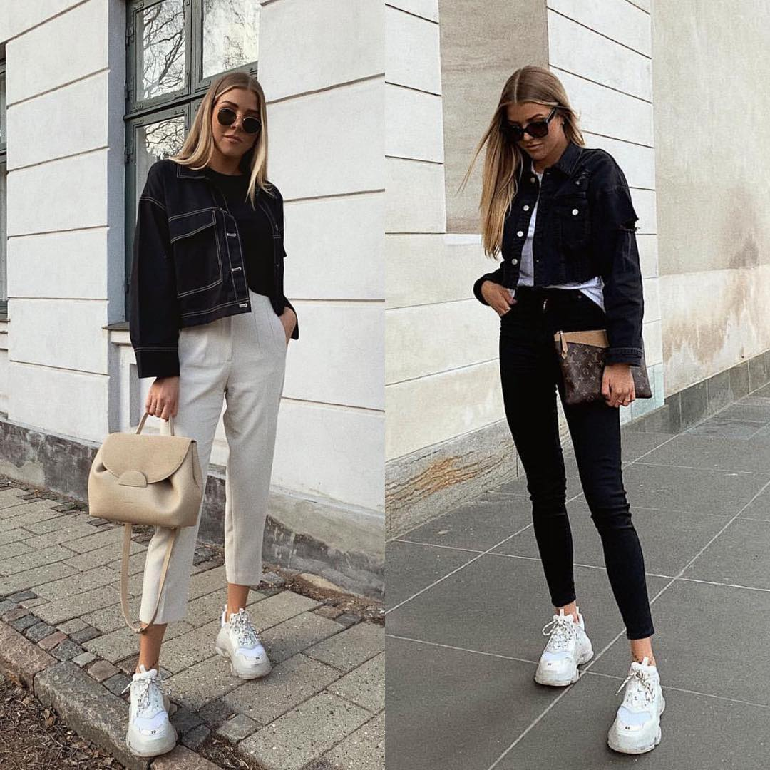 Chunky White Sneakers With Basic Jeans   Outfit