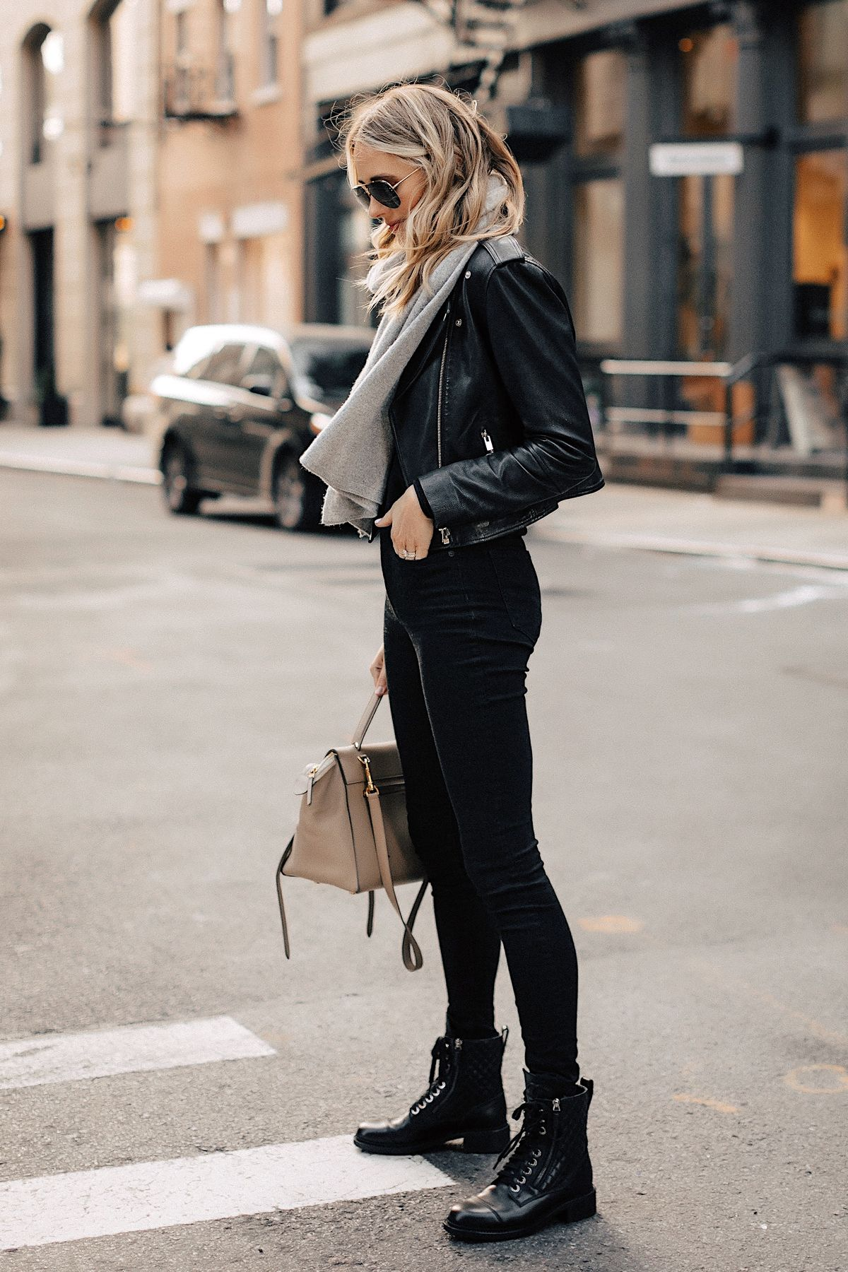 Combat Boots In Black Leather Outfit