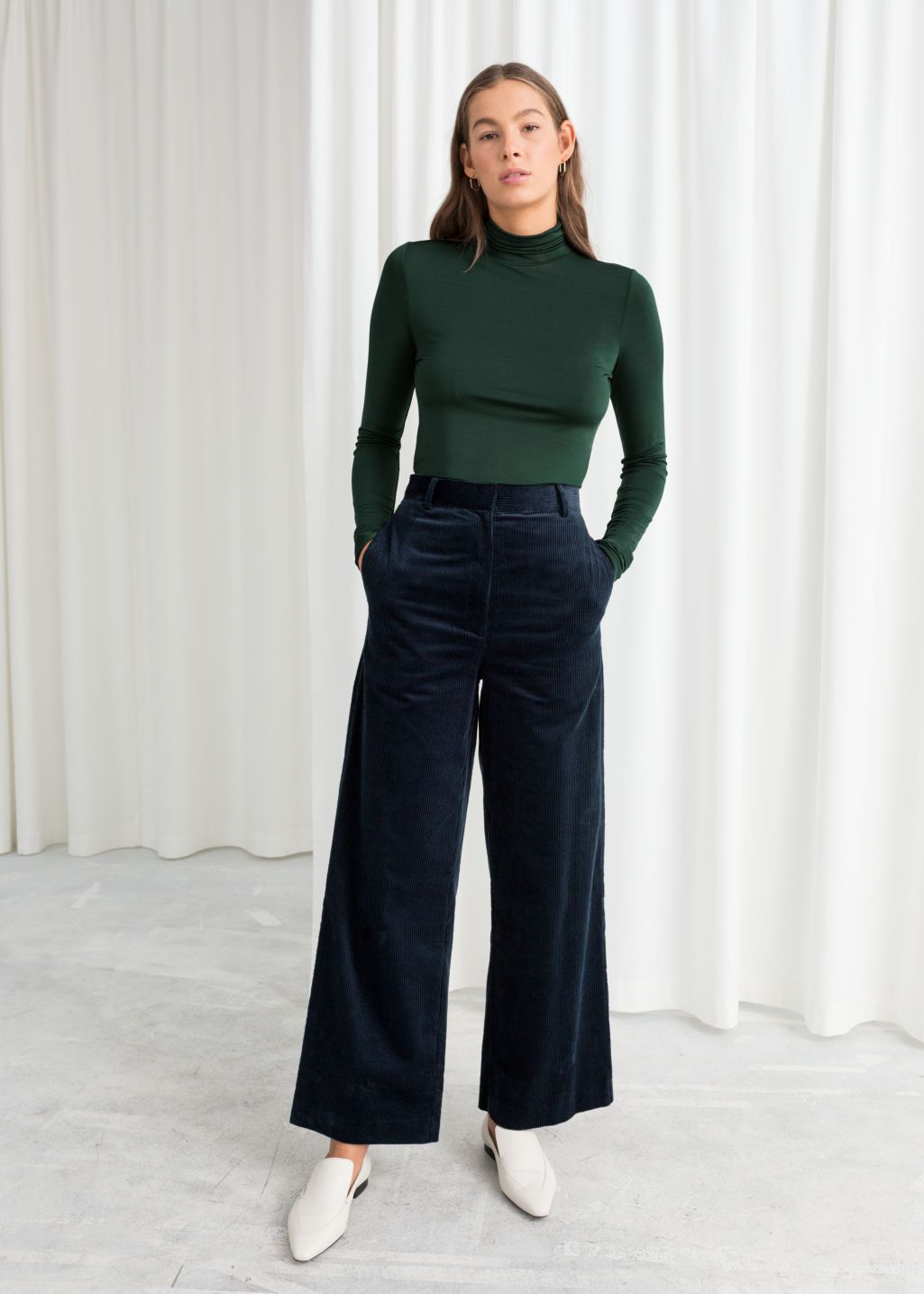 Corduroy Blue Jacket And Wide Pants   Outfit