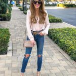 Cream Blush Blouse And Knee Ripped Blue   Jeans Outfit