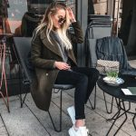 Dark Green Wool Coat With Grey Sweater,   Black Skinnies And White Sneakers For Fall