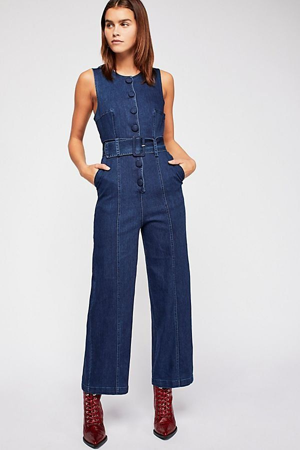 Dark Navy Denim Jumpsuit