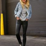 Denim Jacket And Black Leather Pants   Outfit