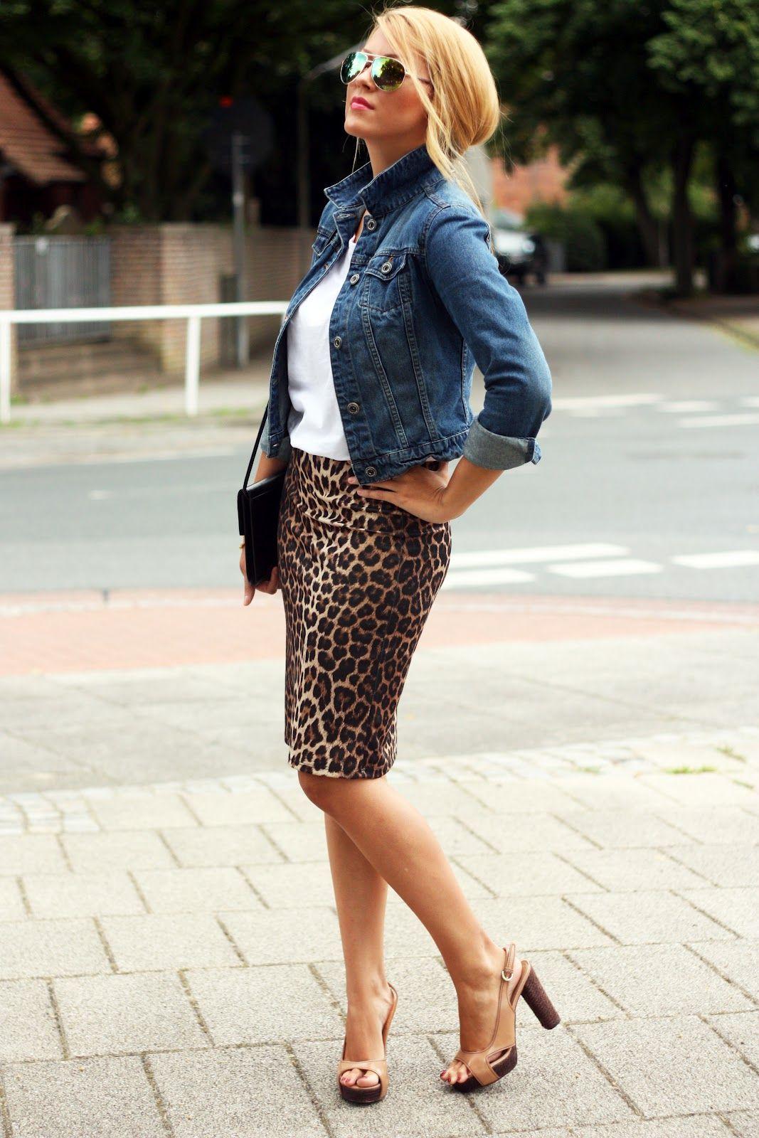 Denim Or Leopard Print Skirt For Summer