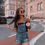 Denim Overalls And Off Shoulder Black Top