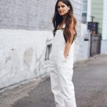 Denim Overalls, White Sweater And White   Sneakers Outfit