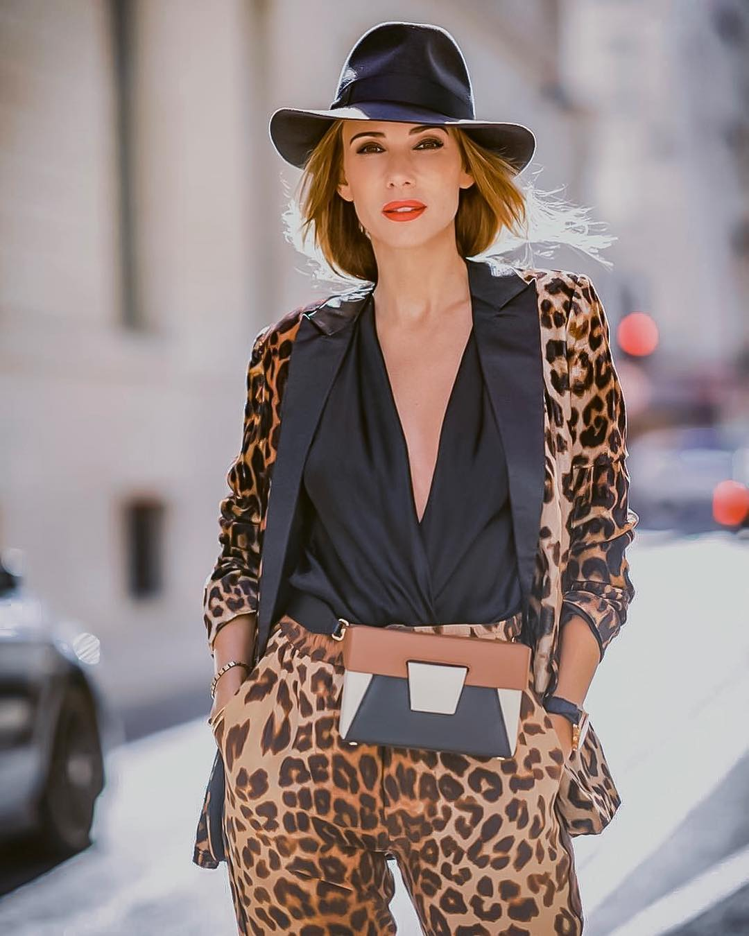 Fedora Hat With Leopard Print Suit Outfit