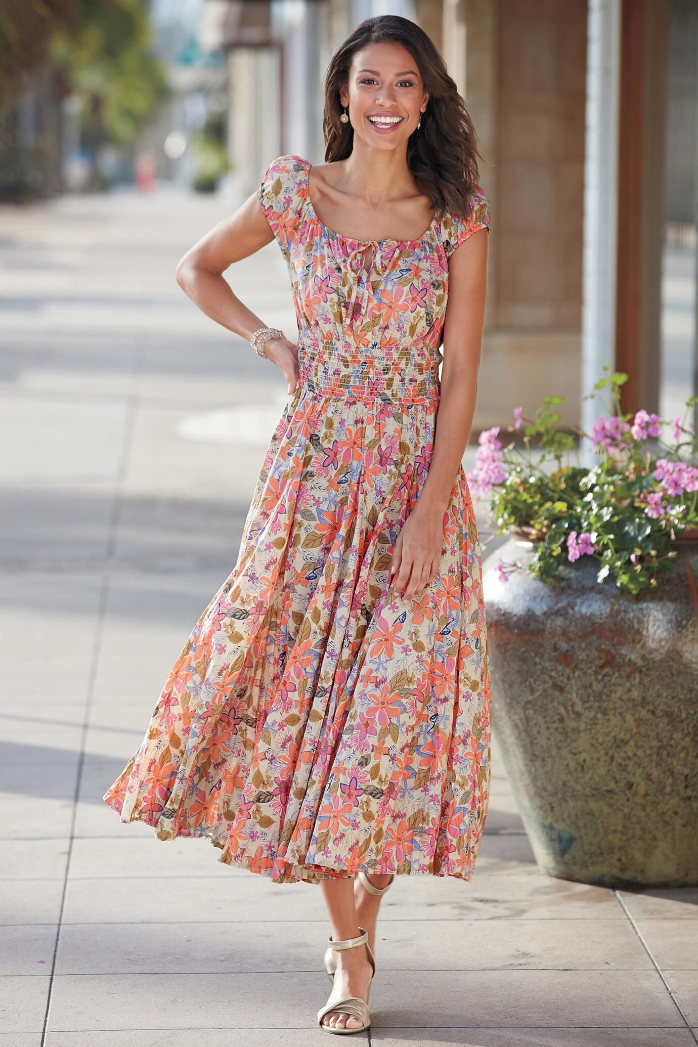Floral Peasant Dress For Summer
