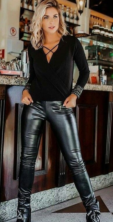 Glossy Black Leather Pants Outfit
