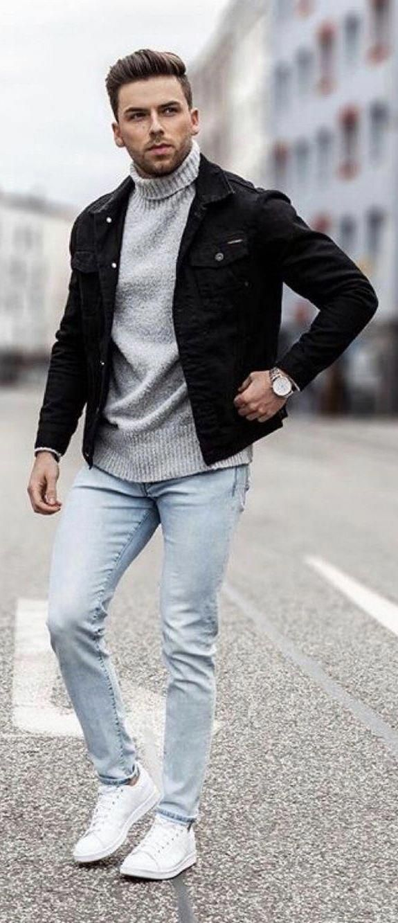 Grey Coat With White Sweater, Wash Blue   Jeans And White Kicks Outfit