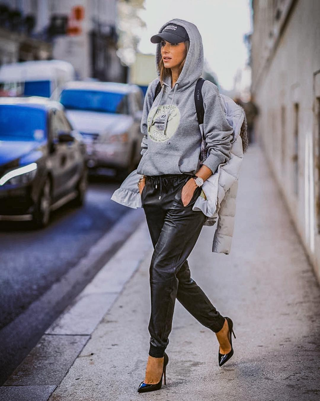 Grey Hoodie With Black Leather Joggers   Outfit