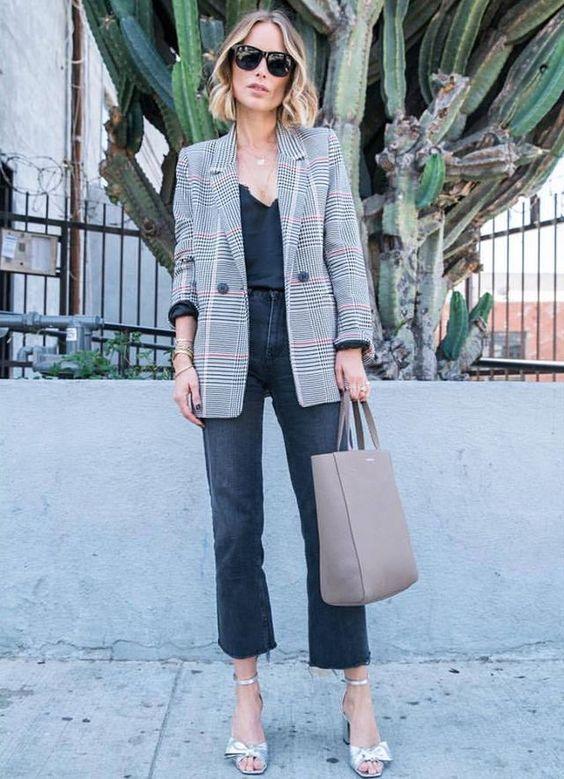 Grey Plaid Blazer Outfit