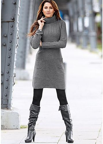 Grey Turtleneck Sweater Dress Outfit