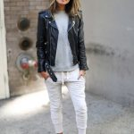Grey-White Sweatpants With Black Leather   Jacket