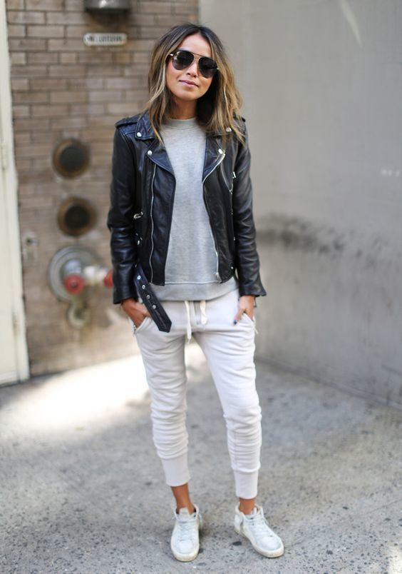 Grey-White Sweatpants With Black Leather   Jacket