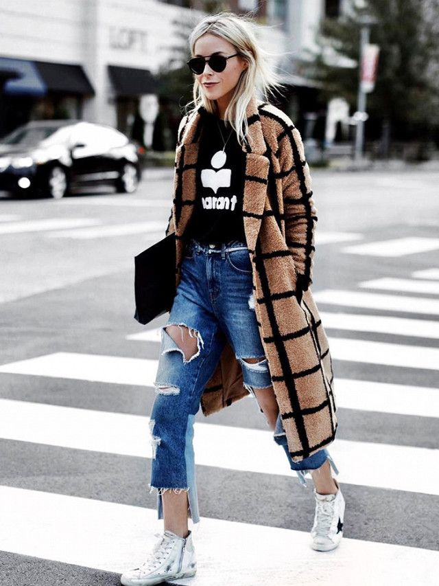 Grid Print Coat And Black Ripped Jeans   Outfit