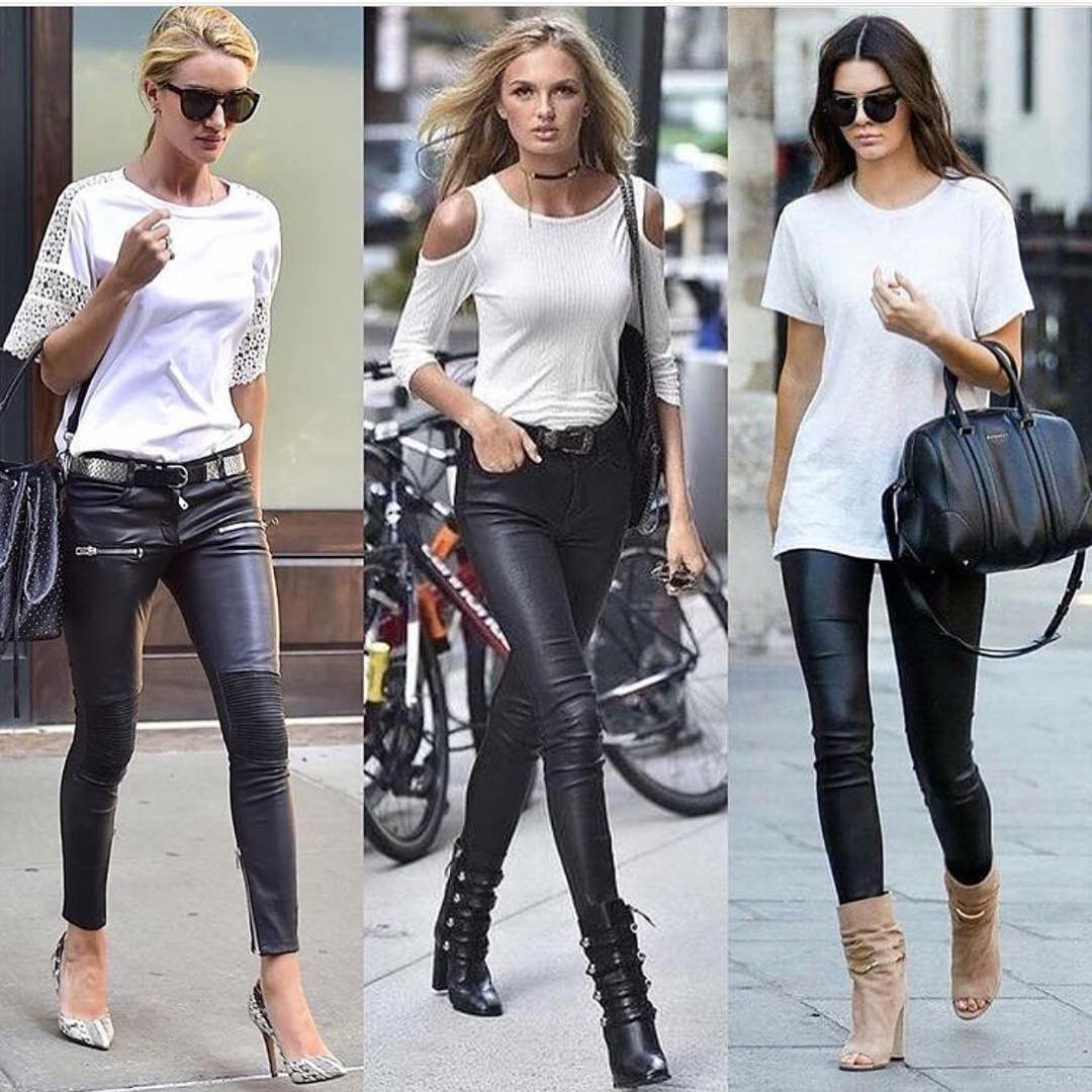 How To Wear Black Leather Skinny Pants