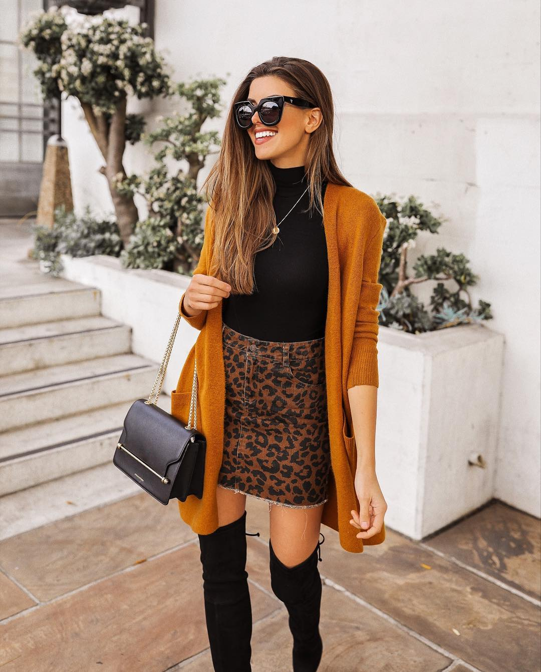 Leopard Print Skirt And Mustard Cardigan   Outfit