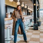 Long Plaid Coat With Plaid Turtleneck And   Regular Jeans Outfit