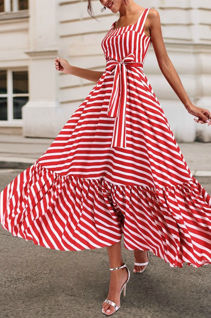 Maxi Dress In Red-White Stripes