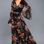 Maxi Gown In Black Floral Print Outfit