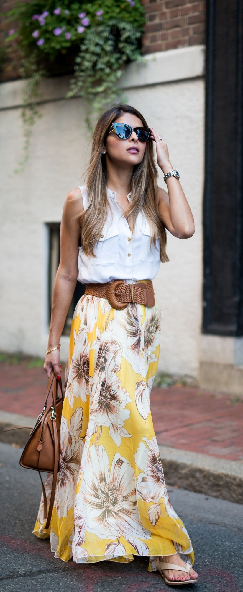 Maxi Skirt And Floral Dress Outfit