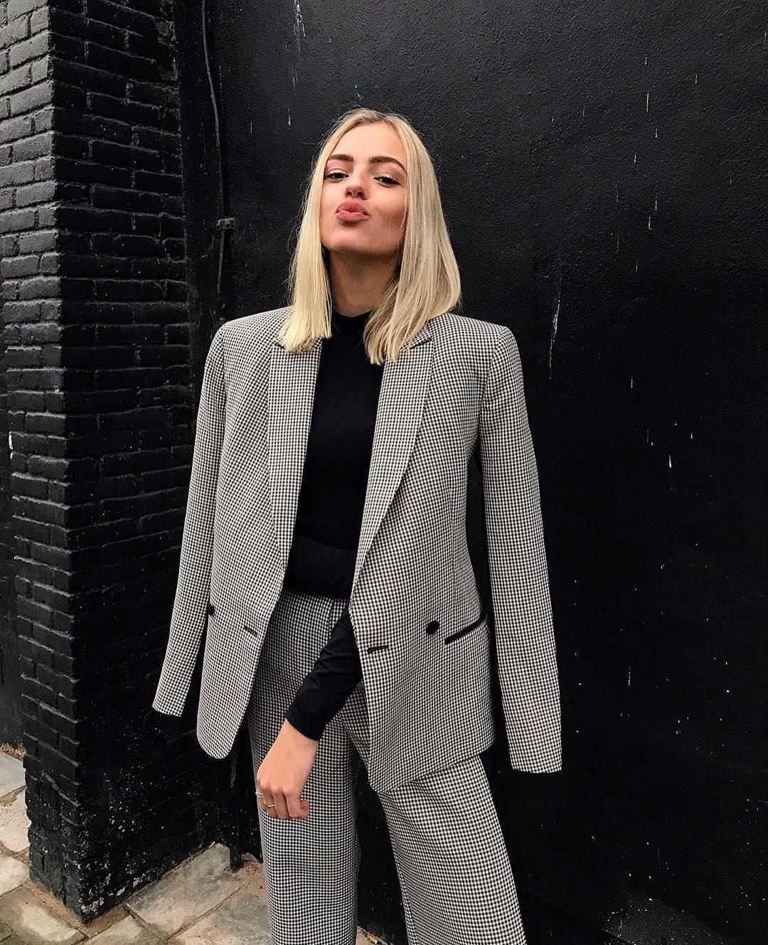 Micro Plaid Pantsuit For Ladies