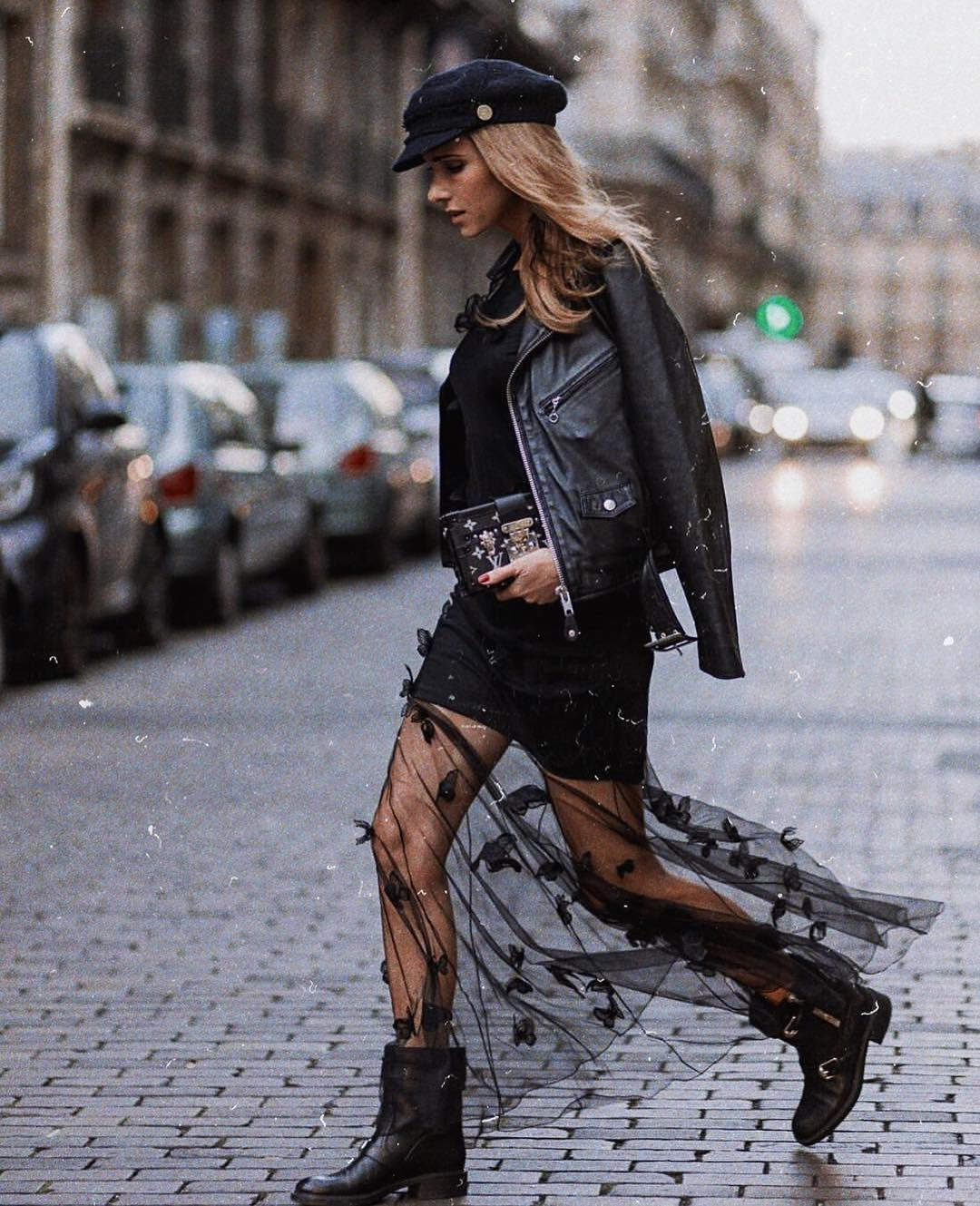 Modern Grunge All In Black Outfit For   Fall