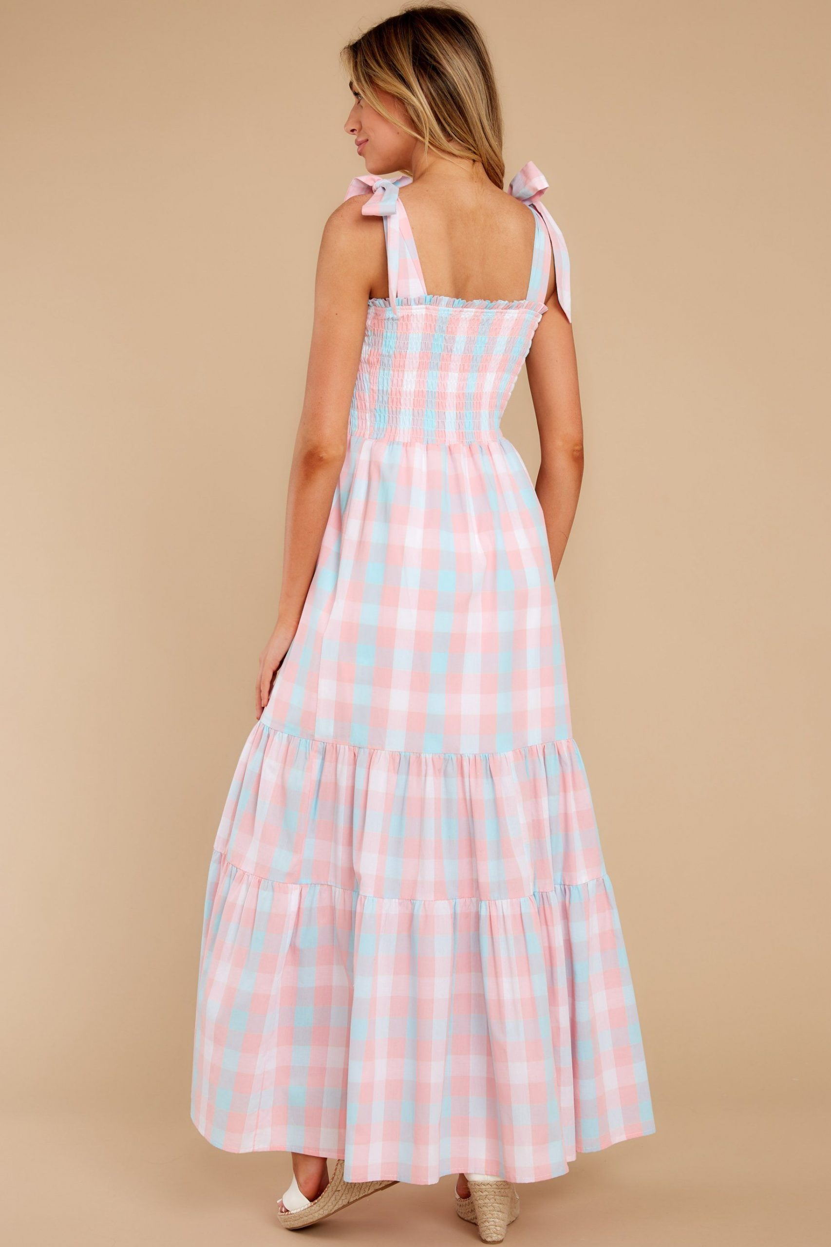Multi Gingham Strapless Maxi Dress