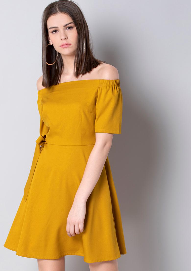 Off Shoulder Mustard Dress