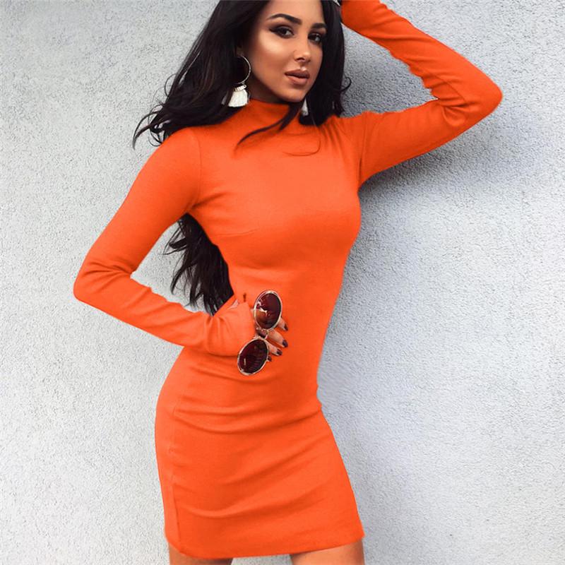 Orange Knitted Long Sleeve Dress