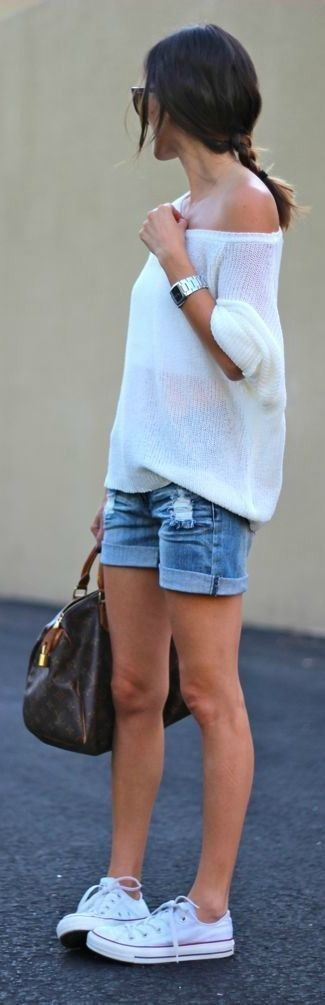 Oversized Blue Sweater And White Shorts   Outfit
