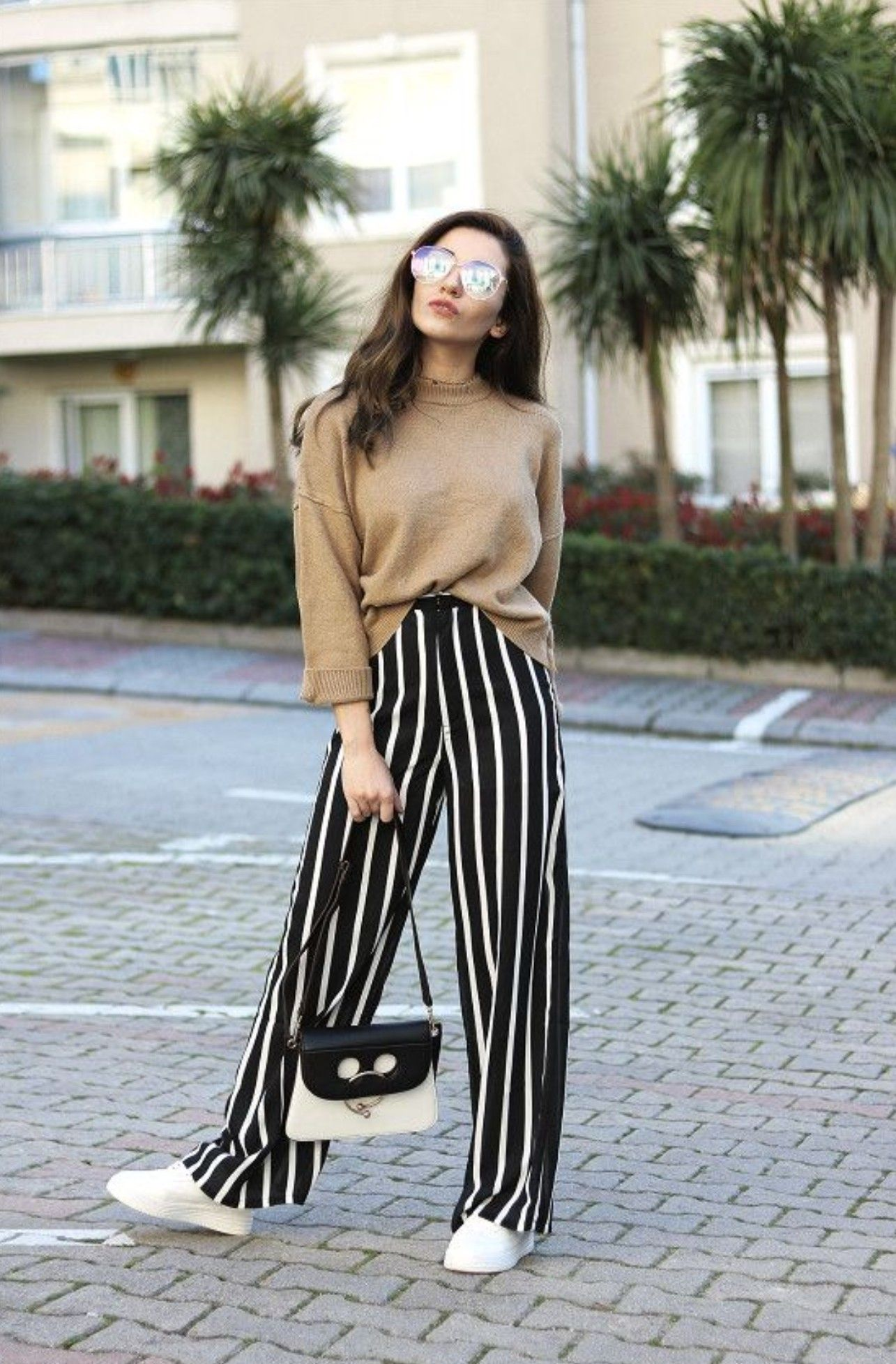 Oversized Pinstriped Pants Outfit