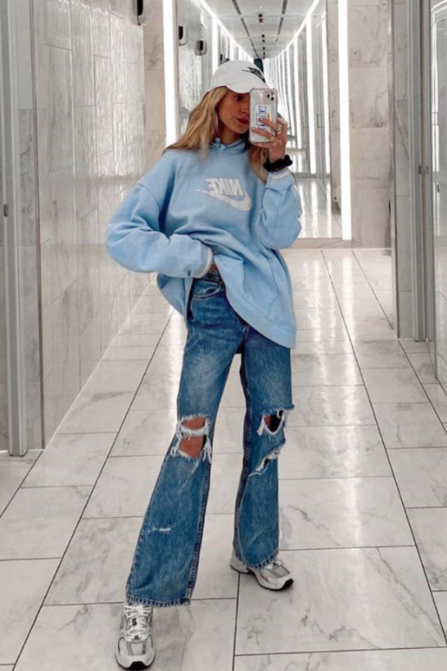 Oversized Top And Mini Bottoms Outfit