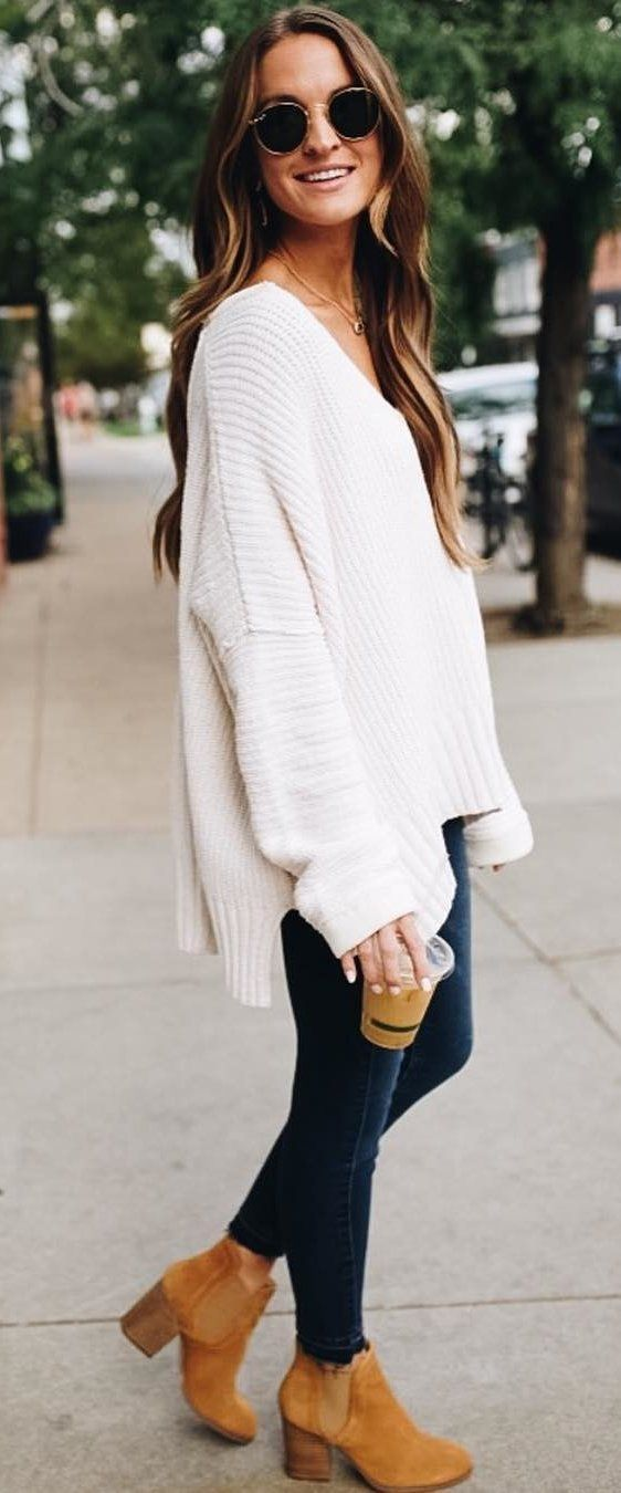 Oversized V Neck Sweater And Blue Jeans   Outfit