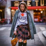 Parka, Hoodie And Plaid Skirt Outfit